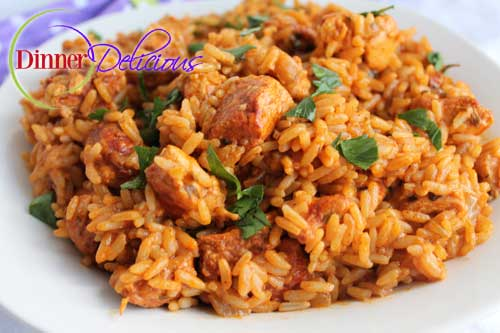 simple arroz con pollo - chicken and rice