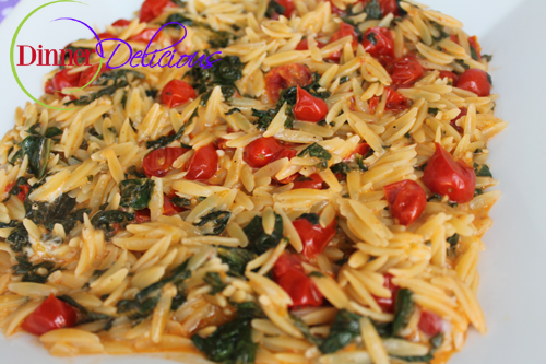 Orzo Pasta with Tomatoes, Spinach and Cheese