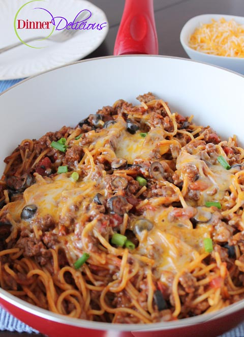 Taco Pasta made with spaghetti