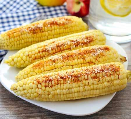 corn on the cob with the shish kebobs
