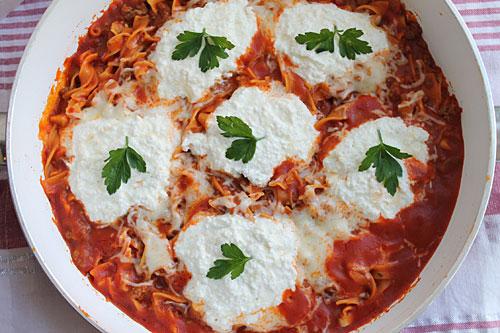 Egg Noodle Lasagna made in your skillet
