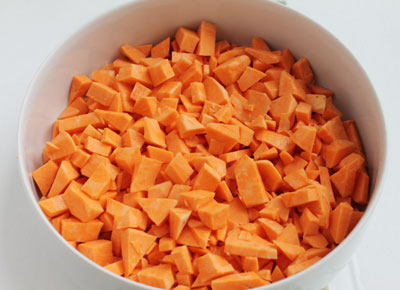 step 1 for the sweet potato hash