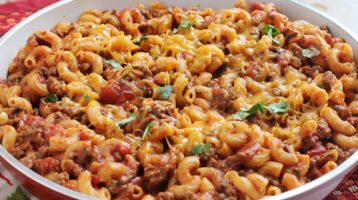 chili mac recipe in a bowl