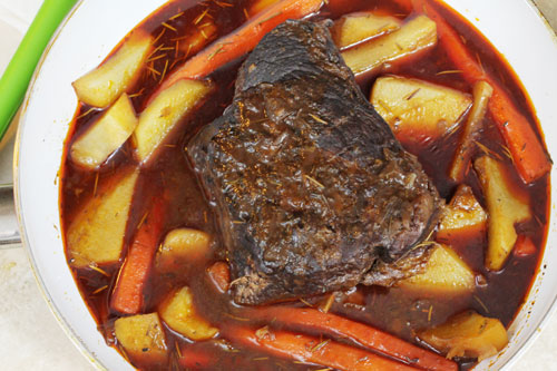 pot roast cooked all day on the stove