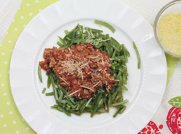 low carb spaghetti sauce over green beans