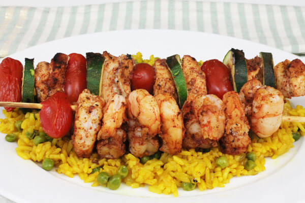 Clean & Healthy Chicken Shrimp Kabob