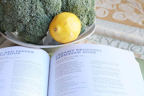 broccoli soup with lemon and parmesan
