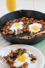 sweet potatoes and kale and eggs