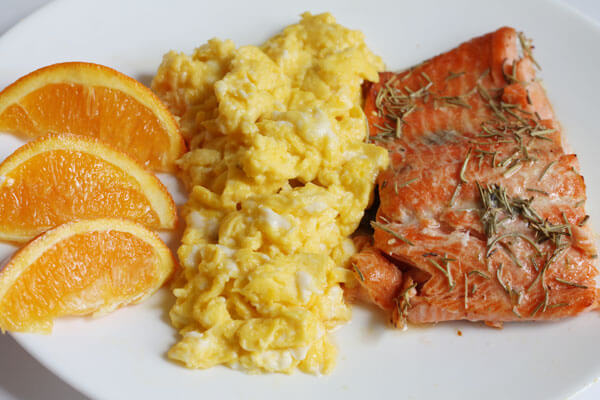 salmon with rosemary for breakfast