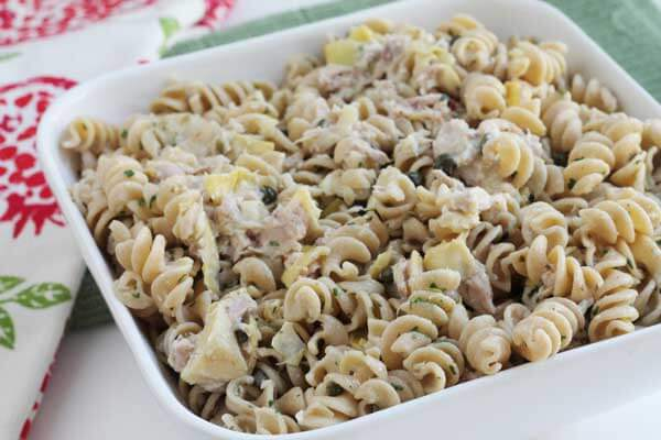tuna noodle casserole with lemon and artichoke