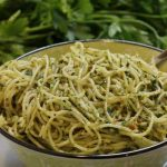 Pasta with Spinach Pesto and Pistachios