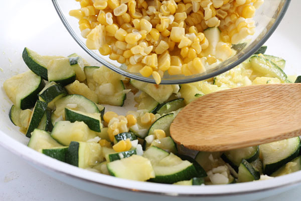 Zucchini and Corn in the skillet