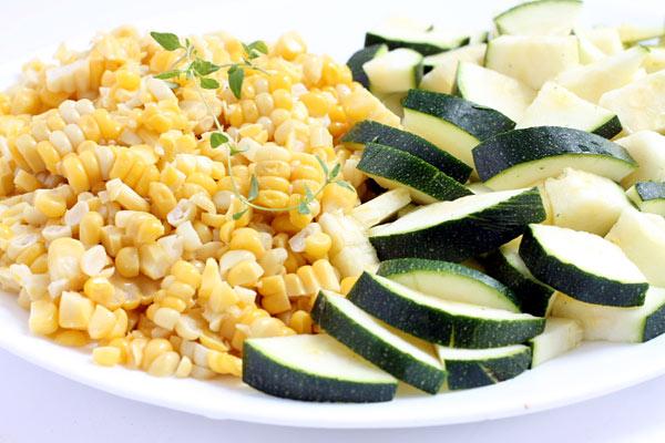 fresh Zucchini and Corn on a plate