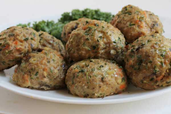 Turkey Meatballs with Shredded Vegetables on a Plate