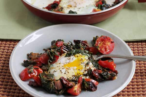 swiss chard with fresh eggs