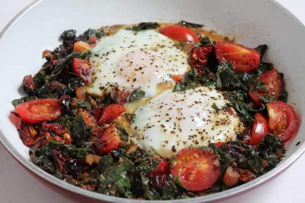 cooking swiss chard and eggs for breakfast