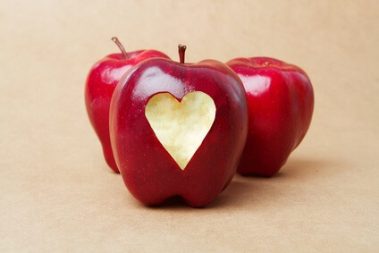 Apple with a heart.