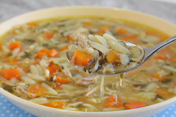 Lemon Chicken Orzo Soup made in the Crockpot