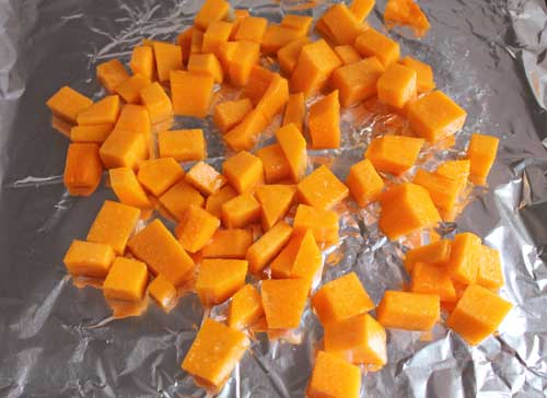 Leftover Butternut Squash being baked in the oven