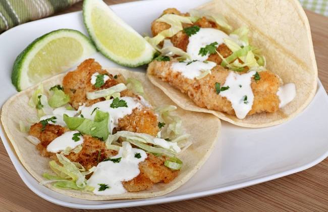 fish taco with cod on a plate
