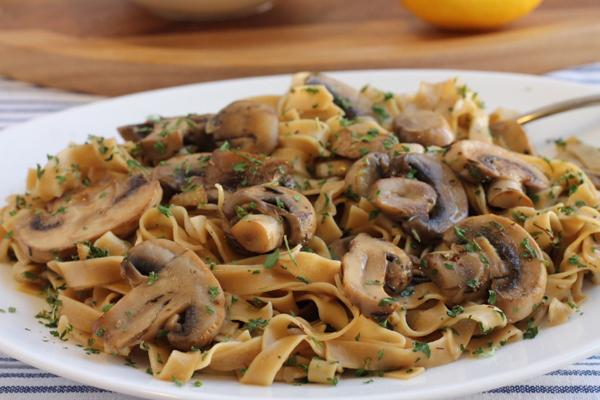 Mushroom Noodles on a plate