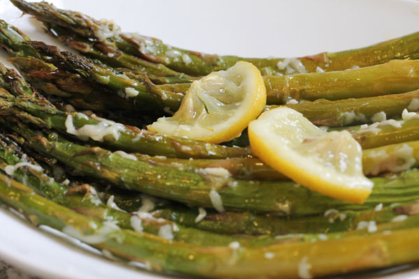 tray of roasted asparagus