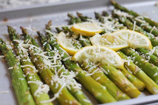 cooking fresh asparagus on a sheet pan