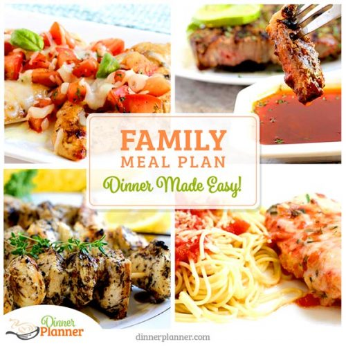Weekly Menu Planner - Sample Dinner Menus