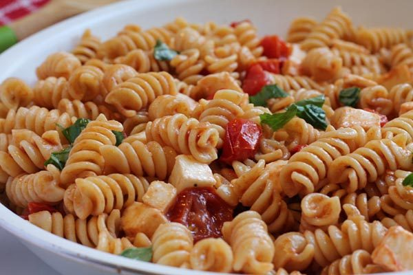 bowl of Caprese Pasta Salad