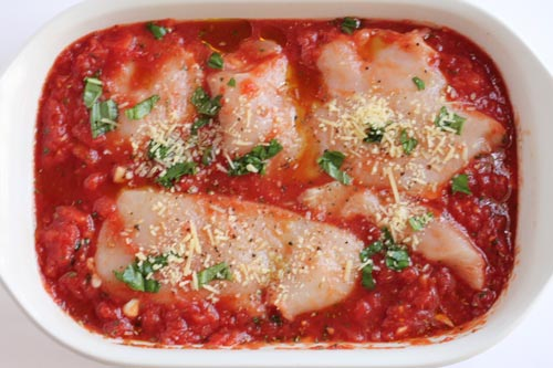 Healthy Chicken Parmesan Ready for the Oven