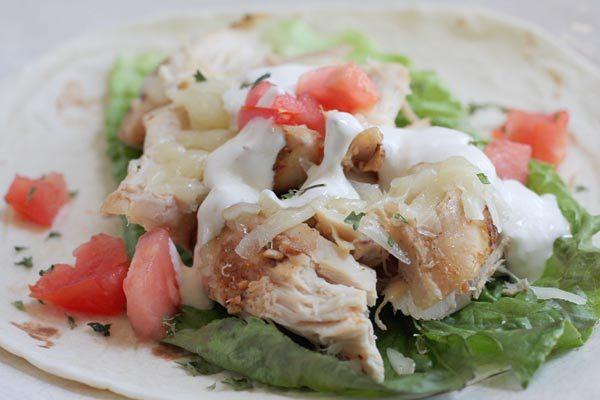 Fajita Wraps using white meat chicken
