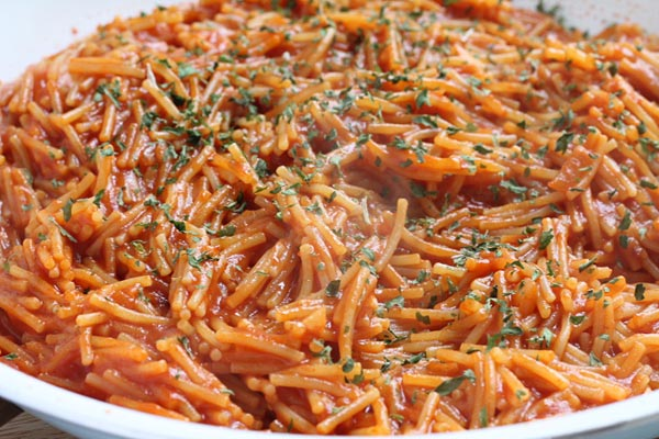 fideo pasta cooked with tomato sauce