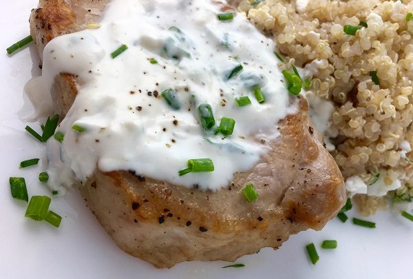 Pork Chops with Cream Cheese and Chive Sauce