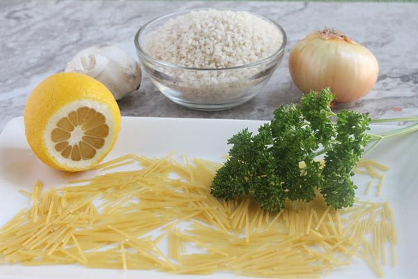 Greek Lemon Rice Pilaf Recipe with lemon, garlic and parsely