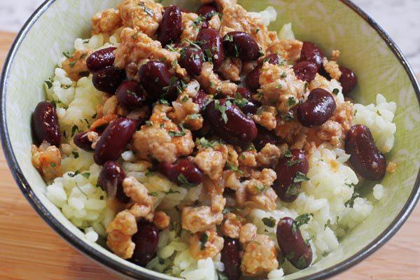 Ground Turkey Rice Bowl Made with Seasoned Turkey