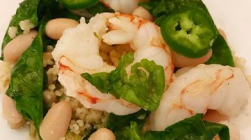 Shrimp with Beans and Baby Spinach