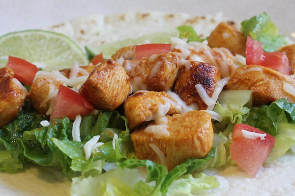 Baja Chicken Tacos with tomatoes and cheese