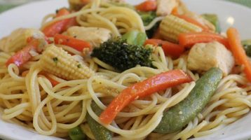 Chicken Stir fry with Italian Salad Dressing and Noodles
