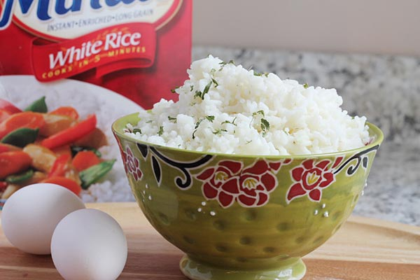 Bowl of Minute Rice used for making fried rice