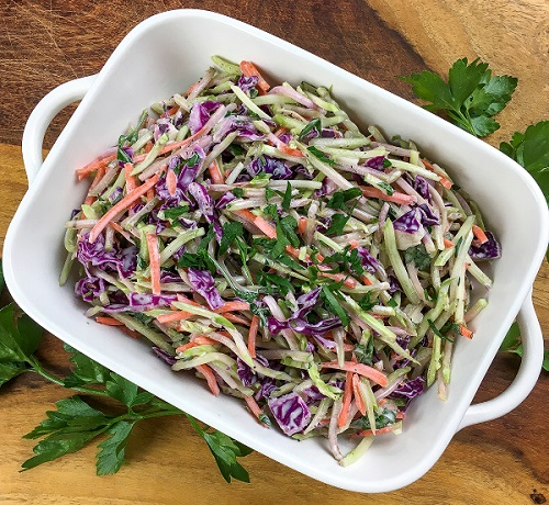 Easy Broccoli Slaw Assembled in the Serving Bowl