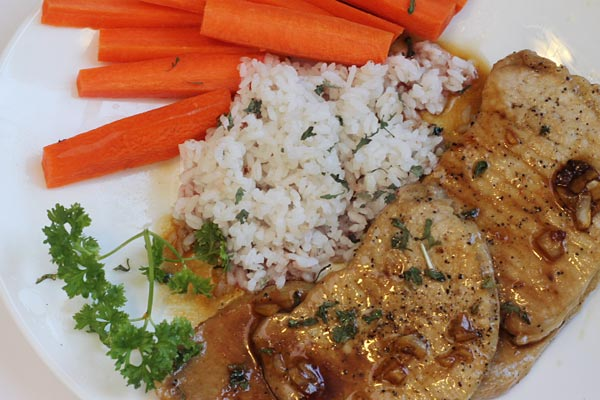 Garlic and Honey Pork Chops on a Plate
