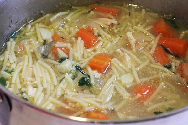 fresh soup made from the boiled chicken breasts