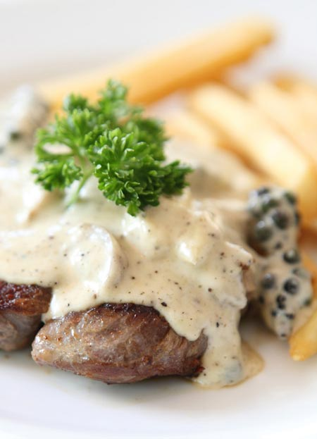 porterhouse steak with bleu cheese sauce