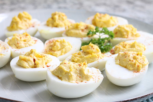 traditional deviled eggs on a plate
