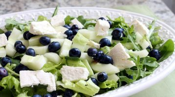 Healthy Salad with Cucumber Blueberries and Feta Cheese