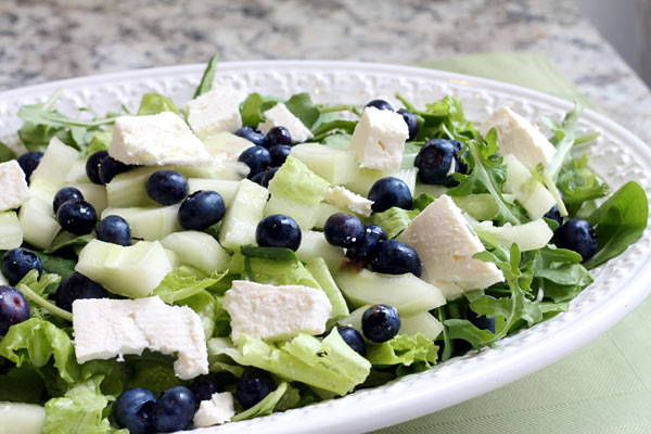 Salad with blueberries, cucumber and feta cheese
