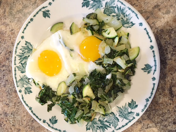 Breakfast Eggs with Bok Choy