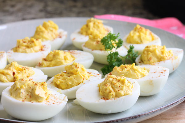 plate of the best deviled eggs