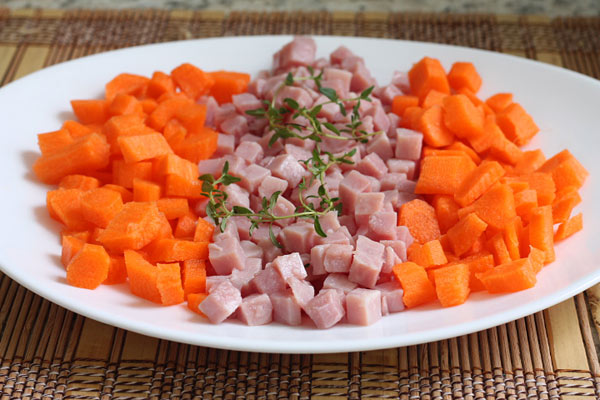 chopped ham and carrots on a plate for split pea soup