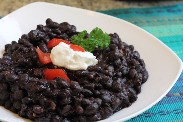 plate of black beans made in the Instant Pot